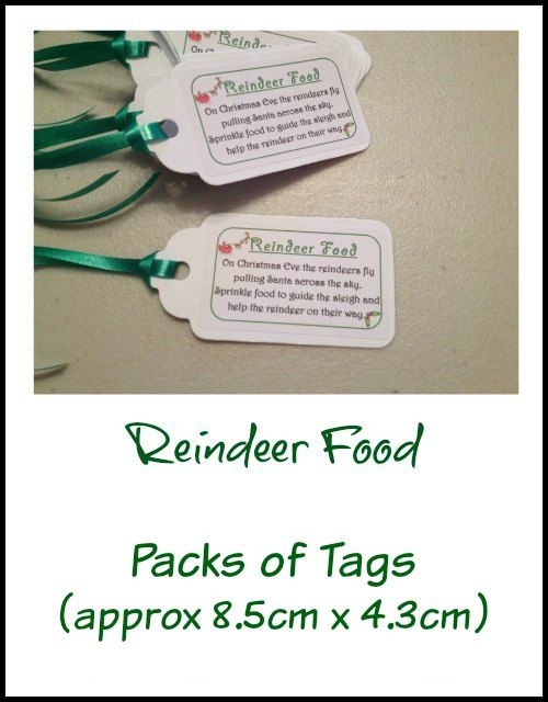 Christmas Reindeer Food Tags Green