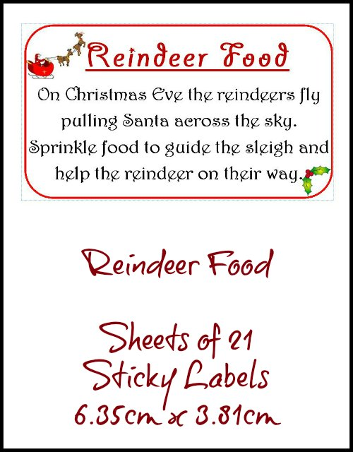 Reindeer Food Bags Sticky Labels