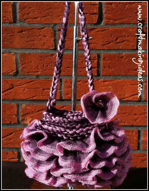 Pink & Purple Rbbon Yarn Shoulder Handbag with Flower