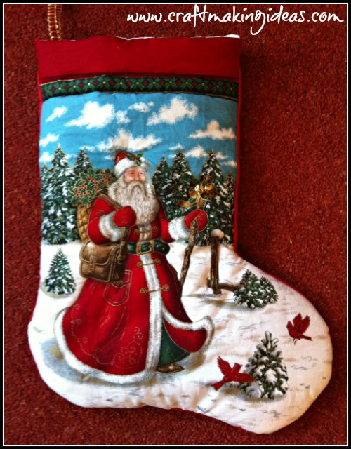 Quilted Christmas Stocking Featuring a Traditional Father Christmas