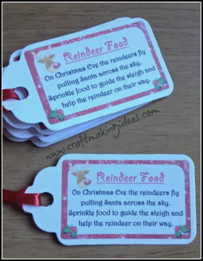 Christmas Reindeer Food Tags