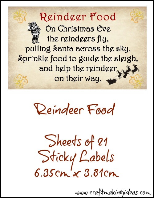 Christmas Reindeer Food Sticky Label Sheets