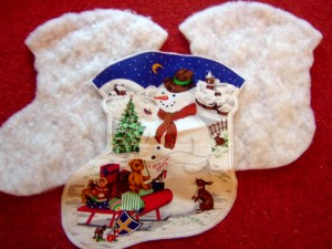 Cut Christmas Stocking Panel and Wadding