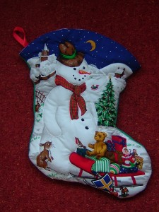 Finished Snowman Christmas Stocking