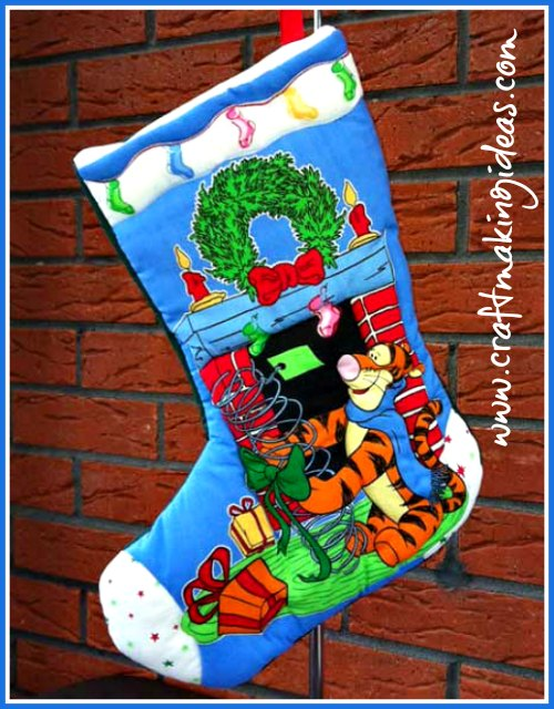 Tigger Christmas Stocking.Small Tigger Themed Quilted Christmas Stocking