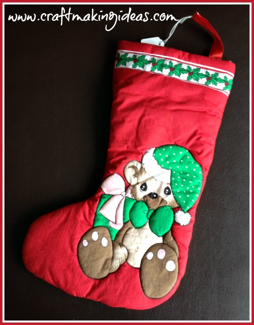 Small Teddy Christmas Stocking