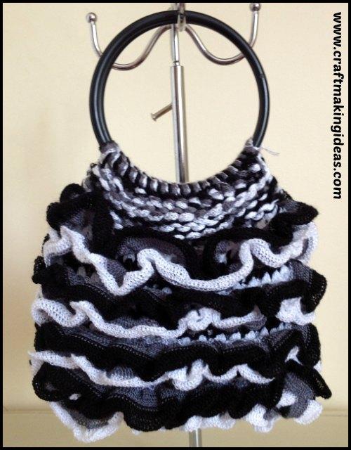 Black & White Salsa Ribbon Yarn Ruffle Handbag