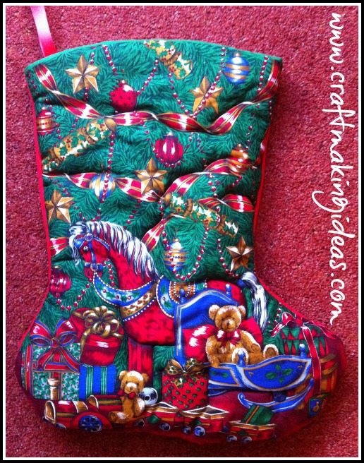 Fabric Quilted Christmas Stocking
