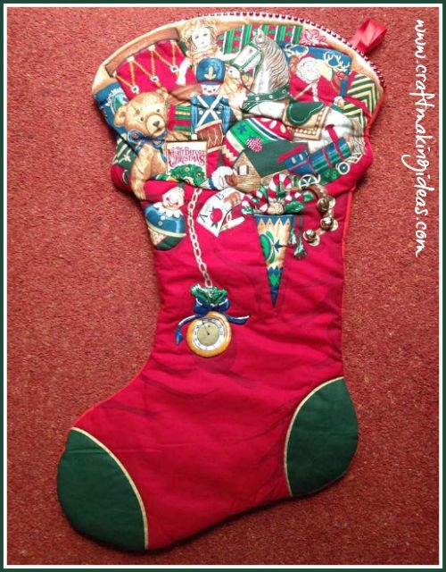 Large Toy Themed Quilted Christmas Stocking with Bells