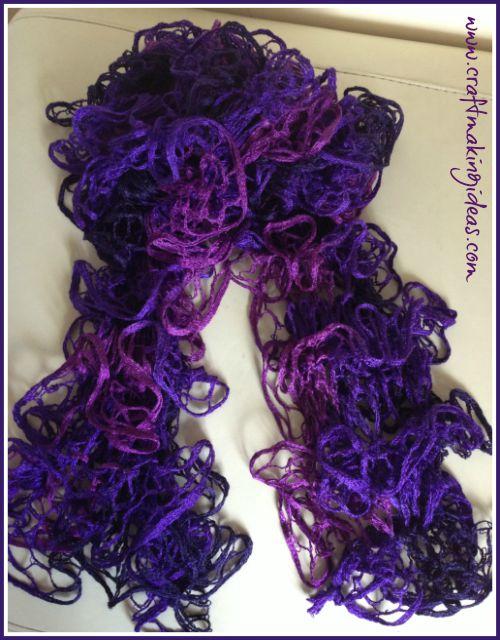 Mixed Purple Ruffle Ribbon Yarn Scarf