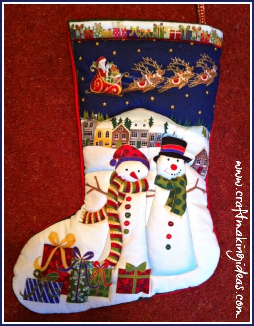 Medium Snowman Couple Design Quilted Christmas Stocking