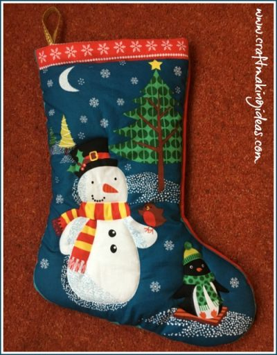 Snowman & Friends Quilted Christmas Stocking