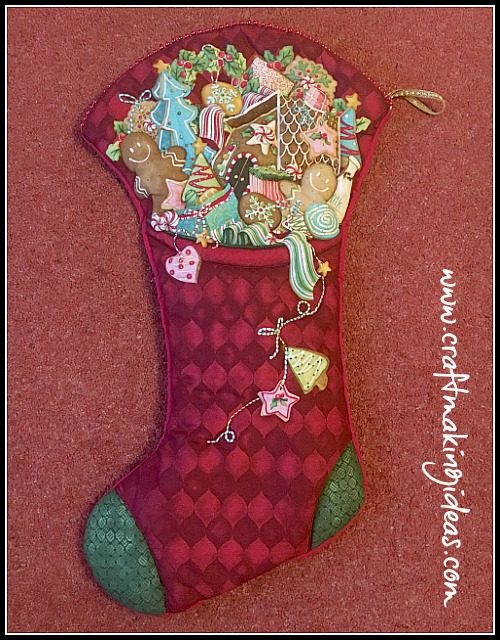 Santas Treats Large Quilted Christmas Stocking