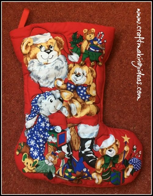 Teddy Santa Quilted Christmas Stocking