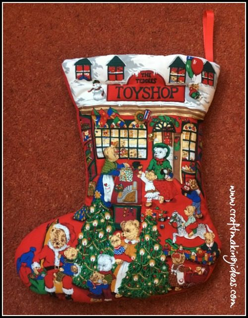 Teddy Toyshop Quilted Christmas Stocking