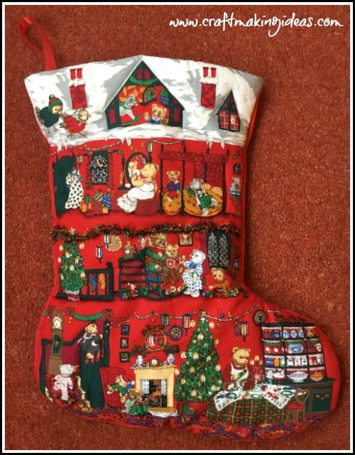 Teddy House Quilted Christmas Stocking