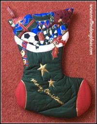 Boys Toys Quilted Christmas Stocking