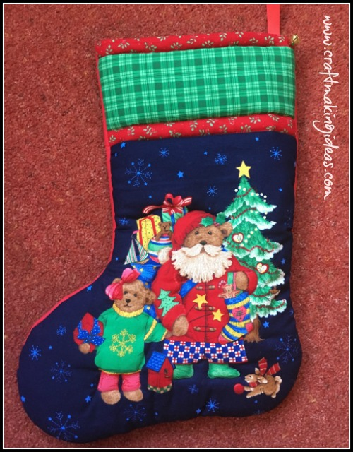 Teddy Father & Daughter Quilted Christmas Stocking