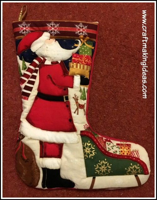 Father Christmas Themed Quilted Christmas Stocking